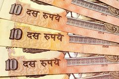 关闭印地安人10卢比钞票 免版税图库摄影