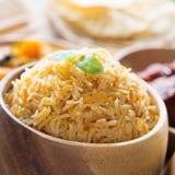 关闭印地安食物biryani米 免版税库存照片