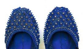关闭印度,巴基斯坦khussa,婚姻鞋子 免版税图库摄影