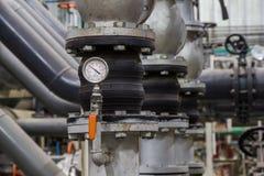 关闭压缩工业管子和测量器,测量仪 免版税库存照片