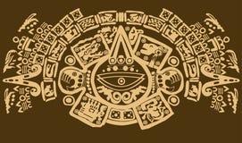 关闭古老玛雅标志射击  免版税图库摄影