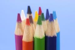 关闭各种各样的着色铅笔 免版税库存图片