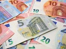 关闭各种各样的衡量单位欧元货币钞票  免版税库存照片