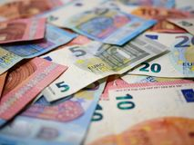 关闭各种各样的衡量单位,浅景深欧元货币钞票  免版税库存图片