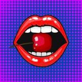 关闭咬住樱桃的年轻俏丽的妇女嘴唇画象看法  打开与吃红色的白色牙的月爽快 免版税库存照片