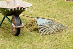 关闭园艺工具在庭院里 库存照片