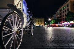 关闭图象在olf城市大广场的支架轮子在Krak 免版税库存照片