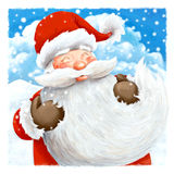 关闭圣诞老人圣诞卡设计 库存图片
