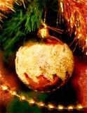 关闭圣诞节树装饰 计算机水彩画拼贴画 免版税库存照片