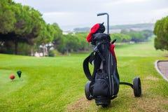 关闭在一个绿色完全域的高尔夫球袋 免版税库存图片