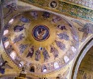 关闭在圣马克` s大教堂的罕见地被拍摄的天花板马赛克 库存照片