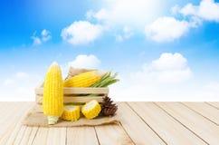 关闭在大麻大袋和木头箱子的新鲜的自然玉米在木flo 免版税库存照片