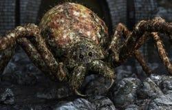 关闭在它的牺牲者的一只巨型蜘蛛的特写镜头 皇族释放例证