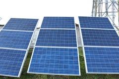 关闭在山的太阳能电池在尼泊尔 库存照片