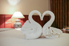 关闭在床上的两只好的毛巾天鹅 库存图片