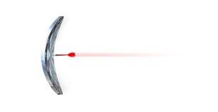 关闭在弯曲的掷镖的圆靶的中心的射击红色箭箭头,遇见 库存图片