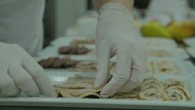 关闭在拿着在一个白色盘的手上一块胸肉,迅速切熟肉在餐馆 袋子 a的一位老练的厨师 股票录像