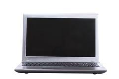 关闭在有黑屏的一台开放膝上型计算机 库存图片