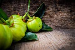 关闭在木背景的藤黄藤黄新鲜水果 免版税库存照片