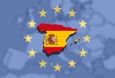 关闭在欧洲和欧洲联合背景的西班牙地图 免版税图库摄影