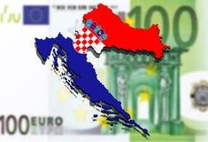 关闭在欧洲金钱背景的克罗地亚地图 免版税库存照片