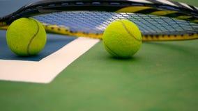 关闭在法院的网球设备 体育,休闲概念 股票录像