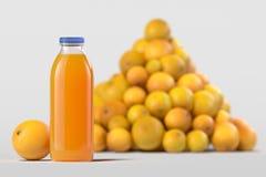 关闭在瓶的新鲜的橙汁过去在轻的背景 3d?? 图库摄影