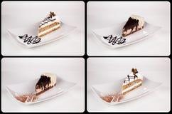 关闭在白色板材,汇集的巧克力奶油蛋糕  免版税库存图片