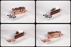 关闭在白色板材,汇集的巧克力奶油蛋糕  库存图片