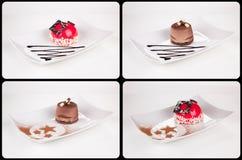 关闭在白色板材,汇集的巧克力奶油蛋糕  图库摄影