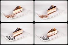 关闭在白色板材,汇集的巧克力奶油蛋糕  免版税图库摄影