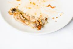 关闭在白色盘的鸡骨头用用浪费的食物 图库摄影