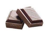 关闭在白色背景的一个巧克力块 免版税库存照片