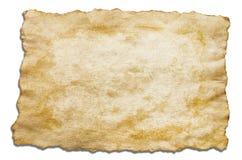 关闭在白色背景的古色古香的老纸孤立 免版税库存照片