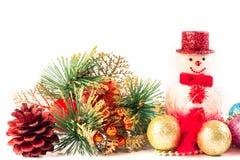 关闭在白色背景的圣诞节装饰作为底下fram 库存照片