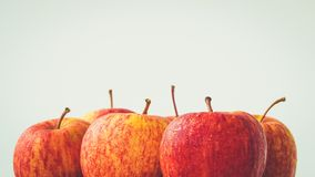 关闭在白色背景的新鲜的红色苹果与拷贝空间 免版税库存图片