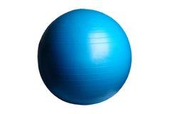 关闭在白色背景隔绝的一个蓝色健身球 库存照片