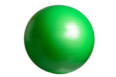 关闭在白色背景隔绝的一个绿色健身球 免版税库存图片