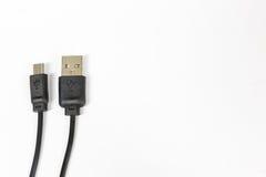 关闭在白色背景隔绝的USB缆绳是调动数据或连接设备 库存图片