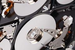 关闭在白色backgro的计算机硬盘驱动器硬盘驱动器里面 图库摄影