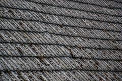 关闭在老房子的年迈的瓦在村庄 在小屋铺磁砖的屋顶的很多青苔  蓝色乡下空的路场面天空 免版税库存照片