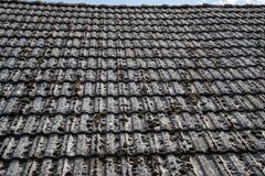 关闭在老房子的年迈的瓦在村庄 在小屋铺磁砖的屋顶的很多青苔  蓝色乡下空的路场面天空 库存图片