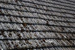 关闭在老房子的年迈的瓦在村庄 在小屋铺磁砖的屋顶的很多青苔  蓝色乡下空的路场面天空 免版税图库摄影