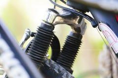关闭在自行车的停止元素 免版税库存照片