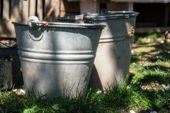 关闭在草的两个生锈的铁桶在庭院里 有垃圾的肮脏的灰色金属桶在仓库广场晴天 免版税库存图片