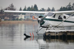 关闭在被停泊的水上飞机 库存图片