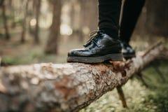 关闭在走和平衡在一个下落的树干的黑鞋子的脚 库存图片