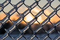 关闭在金属链节篱芭的厚实的冰 免版税库存图片