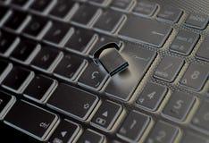 关闭在黑个人计算机键盘的白色信件 免版税库存照片