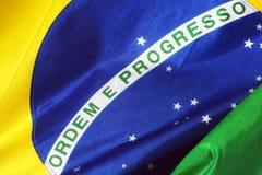 关闭在巴西旗子 库存照片